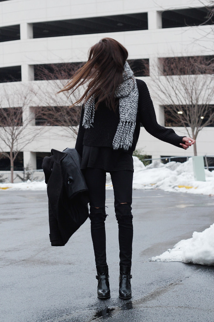 black jeans + black sweater