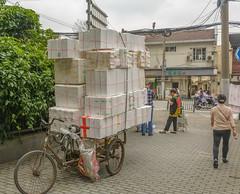 Shanghai streets 18 (stevefge) Tags: china shanghai street transport bicycles bikes people