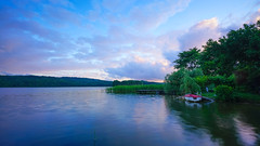 Summer evening (TanzPanorama) Tags: travel pink blue light summer tourism clouds zeiss evening boat twilight holidays europe flickr dusk sony lakedistrict poland wideangle calm cielo serene vacations waterscape kaszuby kashubia ostrzyce fe1635 fe1635mmf4zaoss sonya7ii ilce7m2 tanzpanorama