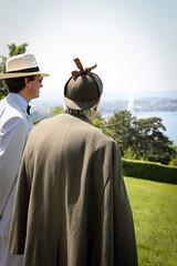 Von Bork (Marcus  Geisser) & Sherlock Holmes (David Jones) surveying Lake Geneva (Fondation Bodmer)