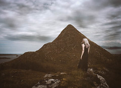At Godya (Manadh) Tags: godya alesund norway westernnorway mountain conceptual fjord portrait girl woman whitehair blackdress clouds moody alone