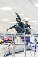 MBC_1536 (matijabrumen) Tags: electician worker helmet hand airport mandalay blck green clothes scaffold myanmar burma matija brumen matic asia travel trip people burmese