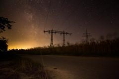 Night Lines ([-ChristiaN-]) Tags: night dark stars galaxy le powerline galaxie lightpollution milkyway milchstrasse lichtverschmutzung lzb milchstrase
