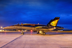 Primary Colours (Aerospace Imaging) Tags: rcaf royalcanadianairforce mcdonnelldouglas cf18 hornet 188761 fighterjet nightphotography bluehour manitobaairshow southport manitoba portagelaprairie cypg ypg captryankean roid