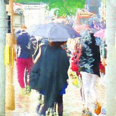 Impressions of Summer (Lemon~art) Tags: summer wet rain weather umbrella photoshop season windy hurry impressionist topaz notsunny nothot enteredinsyb