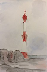 Bremerhaven (loulila71) Tags: art zoo sketch meer drawing sketchbook watercolour bremerhaven leuchtturm aquarell wattenmeer