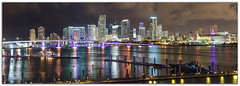 Miami Skyline (Ron Raffety) Tags: panorama miami downtownmiami miamiskyline miamipanorama miamibynight ronraffety ronraffetyphotography
