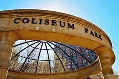 Coliseum Park, Chicago, IL. Chicago (Flashlight to Streetlight) Tags: square squareformat chicago chicagoil coliseum park coliseumpark publicpark historic sky