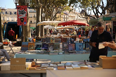 Estivales (Isaszas) Tags: europe southfrance sdfrankreich zuidfrankrijk midi mditerrane montpellier placedelesplanade t sommer summer zomer ombrages lumires march market livres bouquins lectures bcher books talages extrieur canon eos5d isasza stphotographia