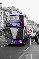 London Bus (danakhoudari) Tags: selectivecolour purple londonbus tfl london oxfordcircus busstop bus