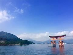 (uucoco) Tags: miyajima torii blue sky red sea water mountain itsukushima japan hiroshima shrine