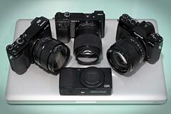 Current gear setup. 28, 35, 45, 85. (I.B.MAC) Tags: cameraporn gear setup fujinon sigma prime black 85mm 56mm 45mm 30mm 23mm 35mm 28mm a6000 xt10 xe2 gr sony ricoh fuji fujifilm