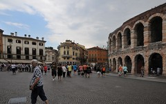 Margaret outside the Arena (Vee living life to the full) Tags: verona italy travel tourism fountain palazzo barbieri bikes cafes coffee gravity water juliet house coliseum nikond300 leger tours coach
