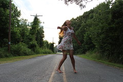 IMG_1023 (joshsagar) Tags: photoshoot pictures girl dress road smiles canon twirl golf course dab log water photography photos river arkansas central back roads sunset trees ar ark t5