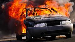 fire2-exercise for firefighters (Yasmine Hens) Tags: incendie fire feu flammes firefighter car hensyasmine namur belgium wallonie europa aaa  belgique blgica    belgio  belgia   bel be