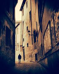 A Memory Come Alive (Donald G. Jean) Tags: donaldgjean fujifilm ga645 italy vicenza shadow silhouette alley film analog 6x45 mediumformat ilford delta3200