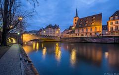 Eglise Saint-Nicolas, Strasbourg, France (Etienne Ehret) Tags: eglise saintnicolas strasbourg alsace france nuit night light lumire bleu blue heure hour reflexions reflets hdr uga canon 1635mm f4 is
