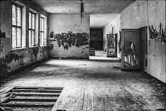Prime (Indiana Jules!) Tags: abandoned sowjet military barrack schwarzweis monochrome bw black white fuji xt1 m42 kontrast schrfentiefe tiefenschrfe lost place forgotten rotten windows perspective russian brandenburg germany