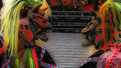 Double (Bamboo Barnes - Artist.Com) Tags: vivid surreal photo painting light shadow blue yellow red pink green history shrine dancer mask ritual autumn men oriental japan festival roof grey silver digitalart bamboobarnes