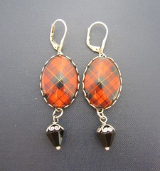 Ancient Romance Series - Scottish and Irish Tartans Collection - Wallace Clan Tartan Earrings with Onyx Black Czech Glass Charms in Antique Silver Finish