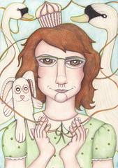 thread (Adi Yochalis) Tags: bunny girl illustration puppets swans cupcake stiches  adiyochalis