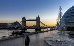 Christmas Day Sunrise (SarahO44) Tags: christmas uk bridge tree london tower thames sunrise canon river day riverside united kingdom more wharf canary lit baubles 6d
