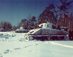 M-4 Sherman Tanks Lined up in a Snow Covered Field, near St. Vith, Belgium (The U.S. National Archives) Tags: tank wwii worldwarii secondworldwar stvith shermantank m4sherman m4shermantank usnationalarchives armoredwarfare armouredwarfare nara:arcid=16730735
