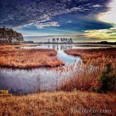 Morning in Chincoteague! (jillsfotoluv) Tags: park travel sky heron water clouds virginia visit wetlands marsh chincoteaguenationalwildliferefugefwsvisitorcenter