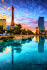 It's Vegas, I can't remember - Topaz Impression (Jim Nix / Nomadic Pursuits) Tags: morning travel paris reflection sunrise hotel nikon lasvegas nevada casino resort nv palmtree thestrip hdr d700 nomadicpursuits topazimpression