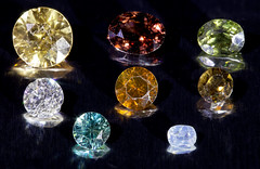 Eight cut zircons (The^Bob) Tags: image cut mineral coloured zircon