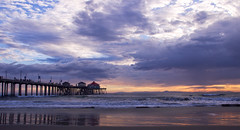 Before Sunset, I (F.emme) Tags: ocean california sunset beach pier seaside southerncalifornia huntingtonbeach couds