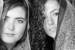 """Sisters"" (fj40troutbum) Tags: portrait blackandwhite bw india canon blackwhite eyes headshot 85mm18 strobist gregholland onestrobe"