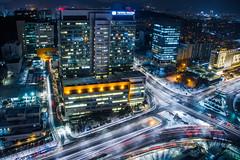 Snowy Seoul in Blue (ohad*) Tags: longexposure blue urban snow yellow night canon korea seoul southkorea ohad canonef24105mm  ohadbenyoseph ohadme canoneos5dmarkiii