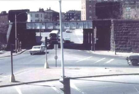 Jackson-Square - Jamaica Plain MA - Centre St Bridge c1960