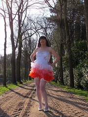 Country girl (Paula Satijn) Tags: road trees red white hot sexy stockings girl smile sunshine fun outside dress legs girly feminine joy skirt tgirl heels gown miniskirt gurl stockingtops