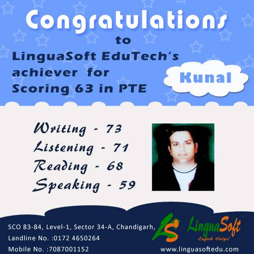 Kunal - Overall PTE score 63