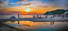...       Summer ... in the red of the sunset rises  Panorama (Dimitil) Tags: plage summer greeksummer sunset clouds sky redsky siviri chalkidiki macedonia greece hellas sea reflections people sable macedoniagreece macedonian makedonia timeless