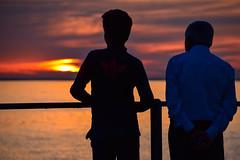 Sunset by the beach (Maria Eklind) Tags: sunlight sunset nature city vstrahamnen trdcket sun summer siluett malm boardwalk vatten sundspromenaden solnedgng goodnightsun silhouette europe sky sweden skneln sverige se