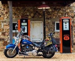 Evening ride (royhale71) Tags: gaspump patch vest gasstation servicestation fuel blue july2017 missouri route66 comberveteransmotorcycleassociation cvma 2010 heritagesoftailclassic harleydavidson