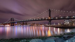 Manhattan Bridge (karinavera) Tags: travel nikond5300 night brooklyn colors cloudy water reflection manhattan longexposure bridge newyork