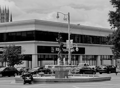 average street scene with bubbles. (richelle forsey) Tags: street monochrome guelph bubbles nothingisordinary fujifilmx30