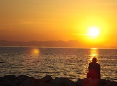 Golden hour (margaritamp1) Tags: sunset sea summer nature happy gold waves alone horizon greece peopleswatch