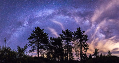 Partly cloudy Milky Way over Noble Canyon in Mount Laguna (slworking2) Tags: julian california unitedstates us milkyway mountlaguna night nighttime panorama noblecanyon