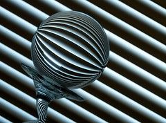 Bending Lines (Karen_Chappell) Tags: blue stilllife white abstract glass lines ball circle angle stripes stripe orb line diagonal sphere round refraction blinds tilt canonef100mmf28usmmacro