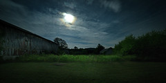 Moonlight Farm No. 3 (Geoffrey Coelho Photography) Tags: lighting old light summer sky building abandoned night clouds barn rural buildings dark landscape outside rainbow soft glow outdoor farm rustic barns scenic fullmoon moonlit moonlight glowing moonbow moonspooky