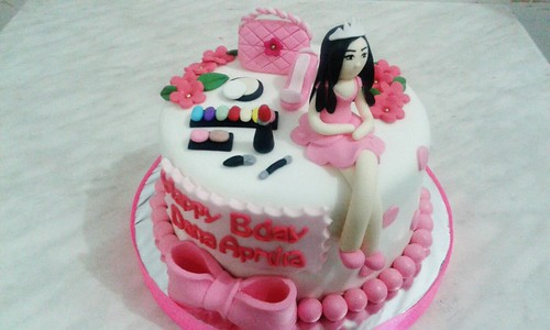 Incredible Pink White Girly Birthday Cake Jakarta A Photo On Flickriver Personalised Birthday Cards Veneteletsinfo