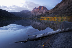 Silver Lake (David Colombo Photography) Tags: morning blue autumn trees mountain lake reflection fall beach water yellow clouds sunrise early log nikon fallcolor outdoor shoreline shore silverlake aspens mammothlakes califorina sierranevadas d800 davidcolombo davidcolombophotography