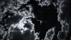 . . . soar eight (orangecapri) Tags: orangecapri flying airplane jet clouds sky light lightanddark black white toned monotone explore explored