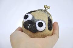 Pug Coin purse (noristudio3o) Tags: kiss clasp purse animal pug dog coin wet felting felted pet keychain key holder bag funny gift wool head noristudio handmade