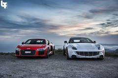 Audi R8 V10 Plus and Ferrari FF (Bas Fransen Photography) Tags: audi r8 v10 plus ferrari ff audir8v10plusferrariff audir8v10plus ferrariff laturbie monacosunset